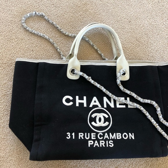 47020adad8d9 CHANEL Bags | Canvas Large Deauville Tote Bag | Poshmark